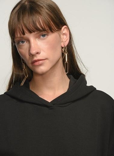 NGSTYLE NGSTYLE Kadın Kapişonlu Oversize Günlük Sweatshirt Siyah